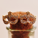 Bohemia Golden Mask Stud Earrings with Rhinestone Flower
