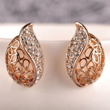 Hollowed Exquisite Water-drop Rhinestone Stud Earrings