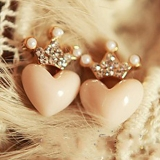 Lovely Crown Heart Rhinestone Stud Earring