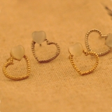 Korea Style Double Heart Stud Earring For Ladies
