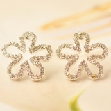Korea Style Fashion Five Leaf Flower Rhinestone Stud Earring