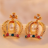 Fashion Colorful Crown Rhinestone Pearl Stud Earring