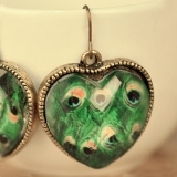 European Vintage Laxury Peacock Heart Drop Earring