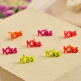 Fluorescent Color Kiss English Letters Fashion Stud Earrings