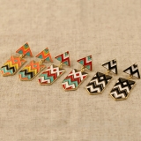 Fashionable Hit Color Alloy Triangular Stud Earring