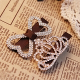 Exquisite Coffee Full Drill Bowknot Rhinestone Hair Clip