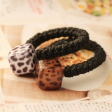 Simple Square Leopard Grain Flower Ponytail Holder