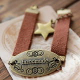 Vintage Retro Words & Star Leather Bracelet