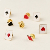 Lovely Fashion Poker Card Color Rhinestone Brooch