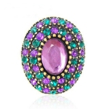National Multicolor Rhinestone Oval Cocktail Ring