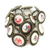 Vintage Rose Owl Flower Rings For Ladies
