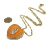 Fashion Golden Heart Rhinestone Locket Necklace