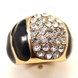 Fashion Color Ceramic Pave Rhinestone Wide Band Rings