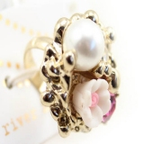 Pearl Flower Cocktail Ring For Women