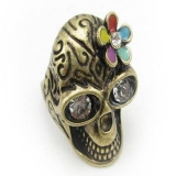 Unique Flower Rhinestone Skull Antique Ring