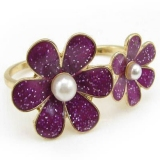 Elegant Color Ceramic Purple Flower Double Ring
