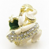 Green Rhinestone Frag Band Ring