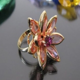Chic Big Rhinestone Flower Ring
