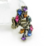 Vintage Muticolor Rhinestone Cocktail Ring