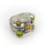 Old Fashion Rhinestone Wide Band Ring
