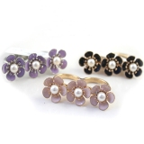 Fashion Flower Pearl Alloy Double Ring