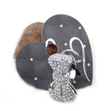 Lovely Bowknot Rhinestone Silver Plated Cocktail Ring