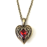 Vintage Large Red Rhinestone Heart Wing Pendant Chain Necklace