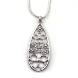 Classical Silver Hollowed Flower Necklace