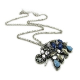 Lovely Blue Rhinestone Elephant Animal Pendant Chain Necklace