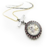 Pink Rhinestone Antique Pendant Chain Necklace