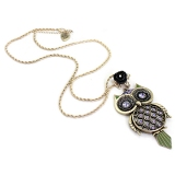 Chic Purple Rhinestone Owl Black Rose Pendant Necklace