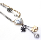 Vintage Heart Bowknot Rose Flower Chain Necklace