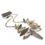 Vintage Short Bronze Texture Chain Pendant Necklace
