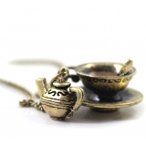 Vintage Short Bronze Coffee Cup Pendant Necklace
