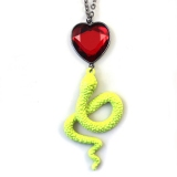 Red Heart Snake Rhinestone Alloy Black Chain Necklace