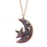 Vintage Star Moon Gold Plated Alloy Chain Necklace