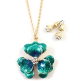 Flower Rhinestone Gold Plated Alloy Pendant Necklace