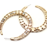 Fashion Gold Crescent-shaped Hoop Earrings