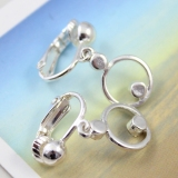 Fashion Silver Leverback with White Rhinestone