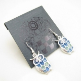 Personalized Blue Rhinestone Color Ceramic Owl Dangle Earrings