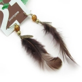 Vintage Coffee Feather Drop Earrings