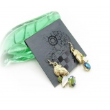 Fashion Golden Leaf Dangle Earrings with Color Rhinestone
