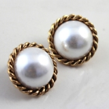 Fashion Golden White Pearl Stud Earring