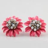 Fashion Pink Pearl Diamond Flowers Stud Earrings