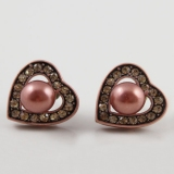 Lovely Fashion Heart-shaped Pearl Rhinestone Stud Earrings