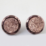 Lovely Pink Dull Polish Circular Rhinestone Stud Earrings