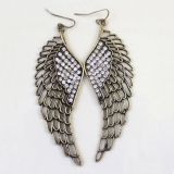 Personalized Multicolor Hollow-out Angel Wings Rhinestone Drop Earrings