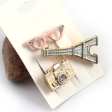 Personalized Glasses Camera Eiffel Tower Rhinestone Brooch