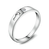 Simple Elegant Silver Rhinestone Band Ring