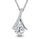 Luxury Exquisite Silver Rhinestone Pendant Necklace